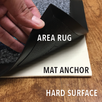 Mat Anchor's thin design doesn't damage hard flooring and goes unnoticed under loose matting